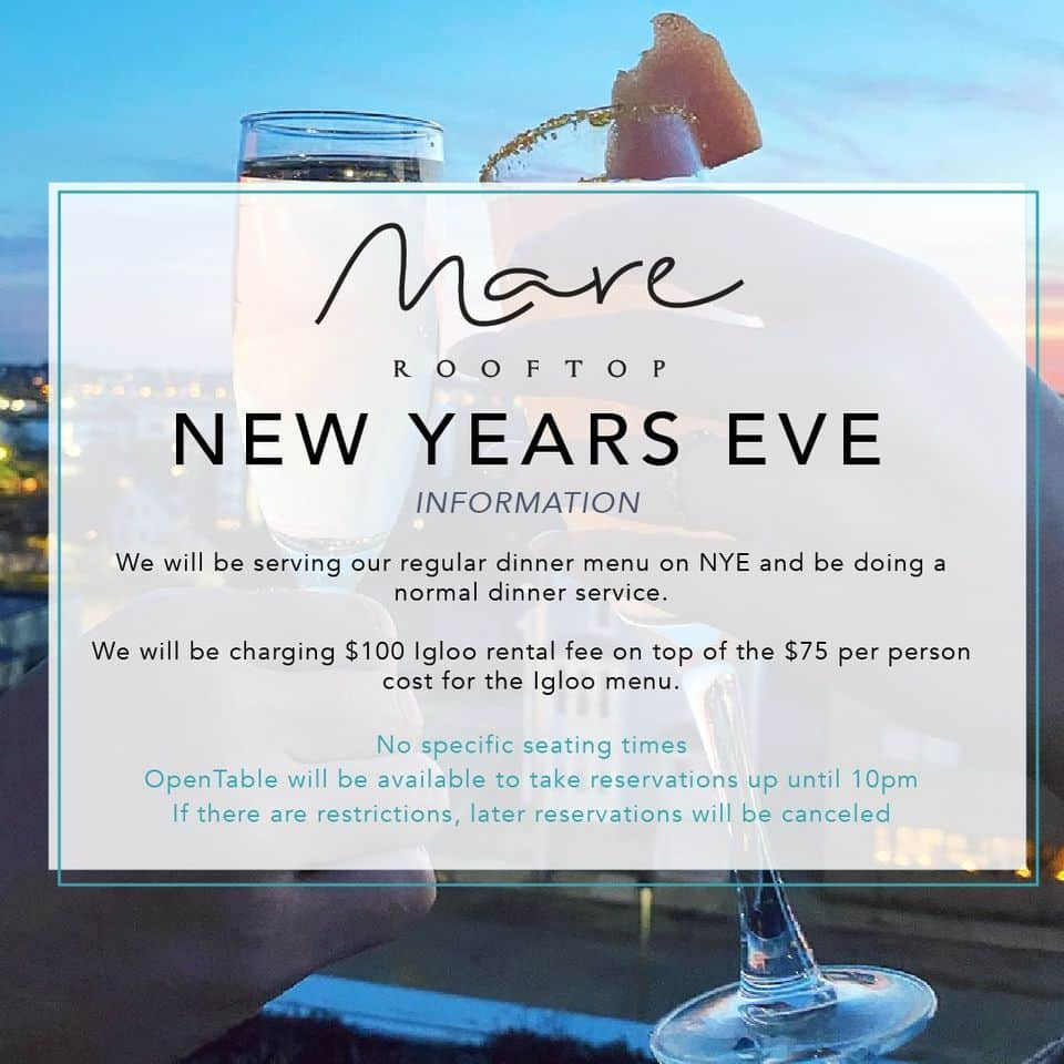 An ad for Mare Rooftop New Years Eve menu.