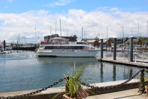 The Sea Streak ferry approaching a dock in calm Newport waters.