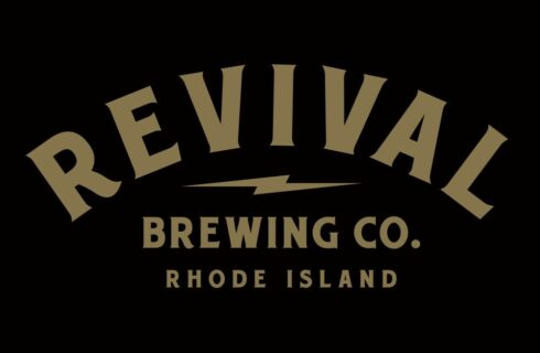 Black background with gold letters; Revival Brewing Co. Rhode Island.
