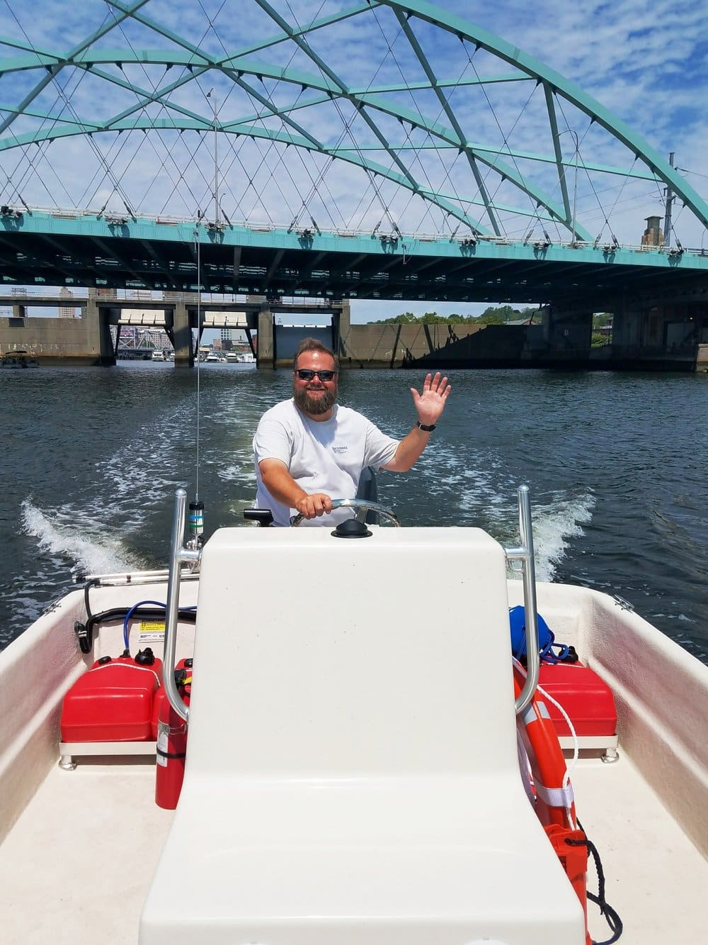 Captain Tom of the Providence River Boat Company out cruising around.