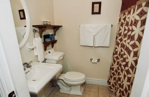 Bathroom with white pedestal vanity and stool with patterned shower curtain.