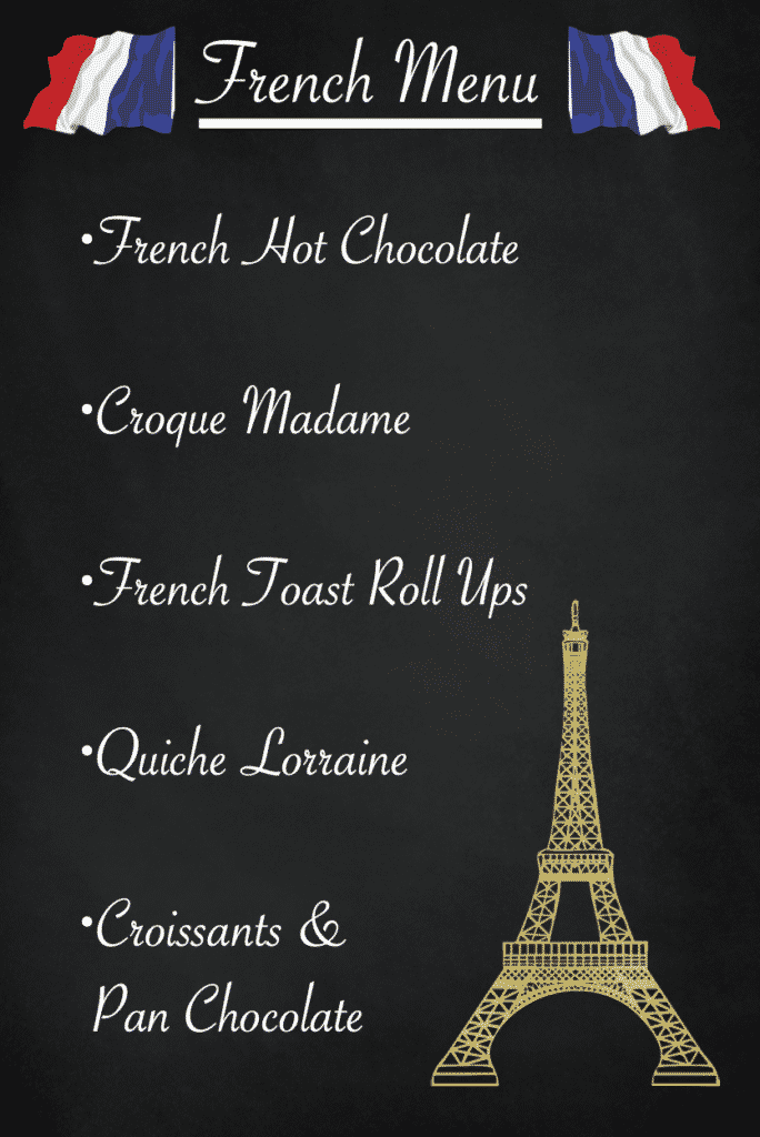 Black chalkboard with a French Menu written in white chalk.