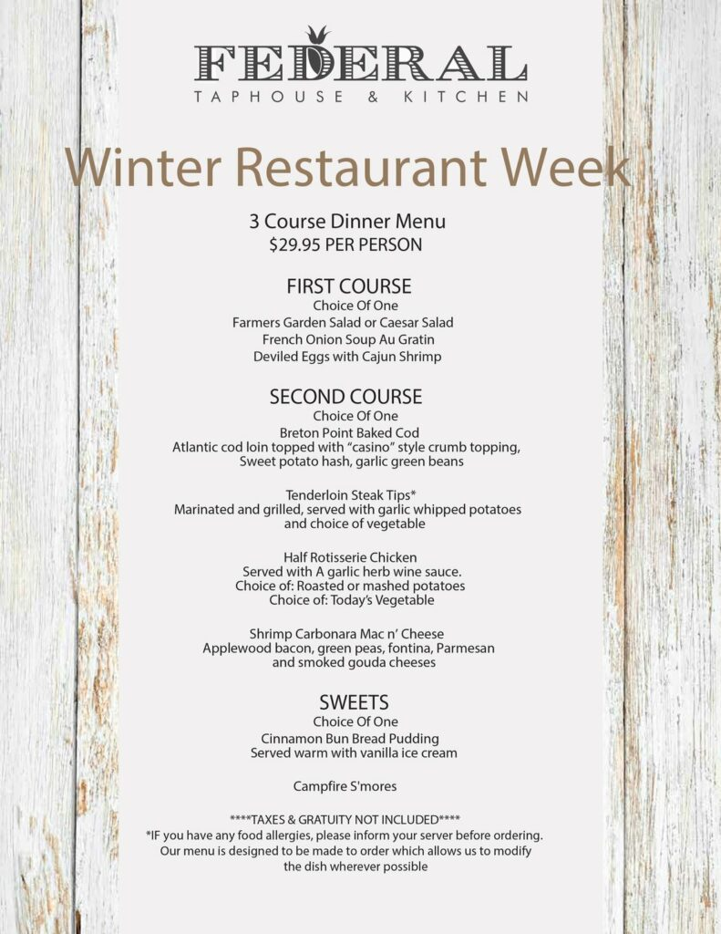 Federal Taphouse & Kitchen winter restautant weeks menu.