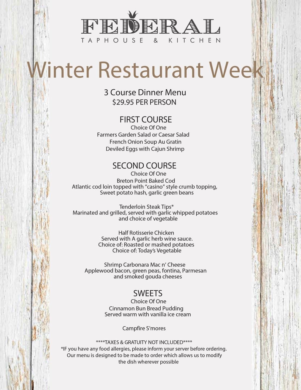 Federal Taphouse & Kitchen winter restautant weeks menu.