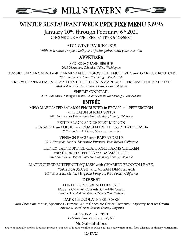 Mill's Tavern winter restautant weeks menu