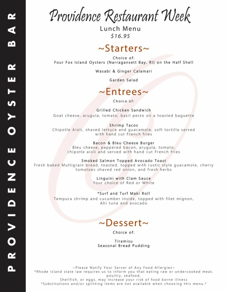 Providence Oyster Bar winter restautant weeks menu.