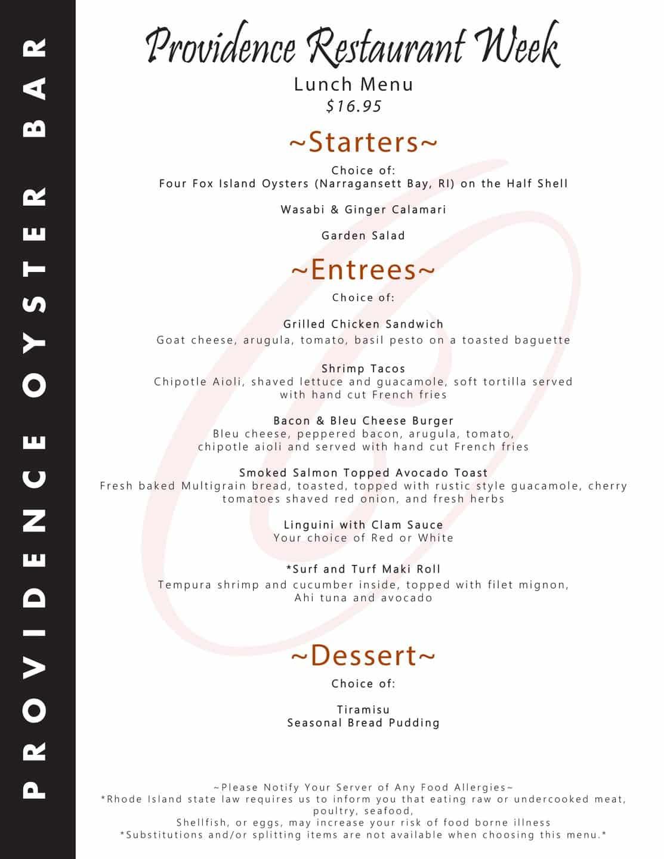 Providence Oyster Bar winter restautant weeks menu.