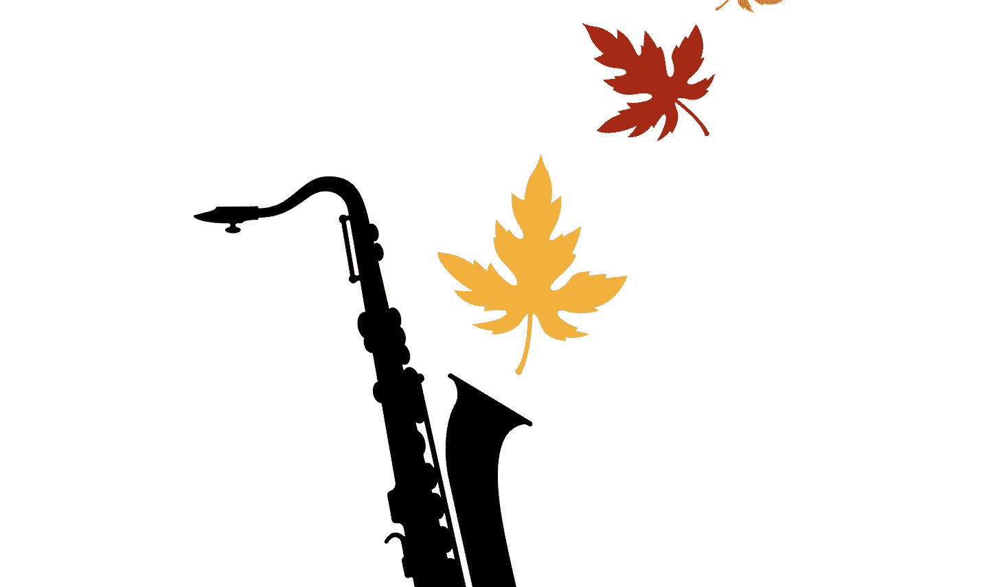 Black saxophone with fall colored leaves coming out the top.