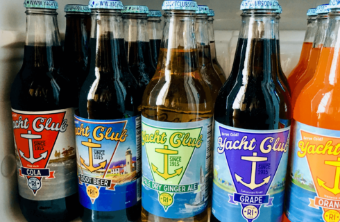 A colorful assortment of locally bottled Yacht Club Soda.