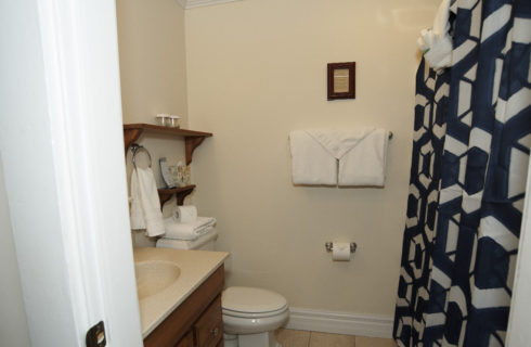 Bathroom with wooden vanity, a stool and patterned shower curtain.