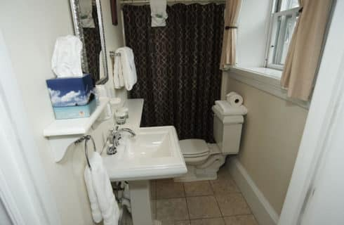 Bathroom in white with a pedestal sink and brown shower curtain.