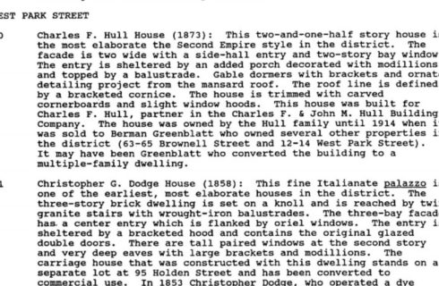 A page of black text about the history of the Christopher Dodge House