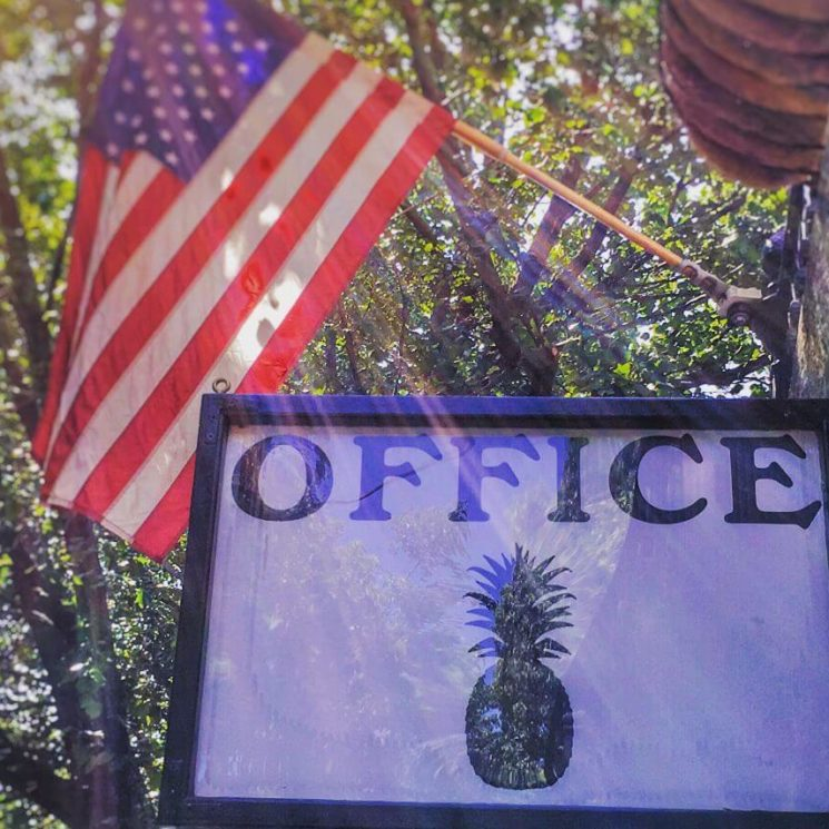Pineapple sign with word Office hangs under an American flag fluttering in the breeze.