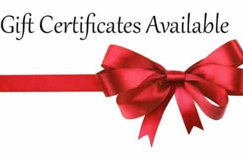 A red ribbon and bow with the words Gift Certificates Available.