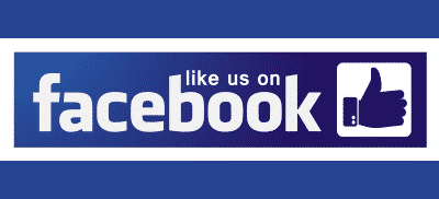 Like Us on Facebook with thumbs up in blue.